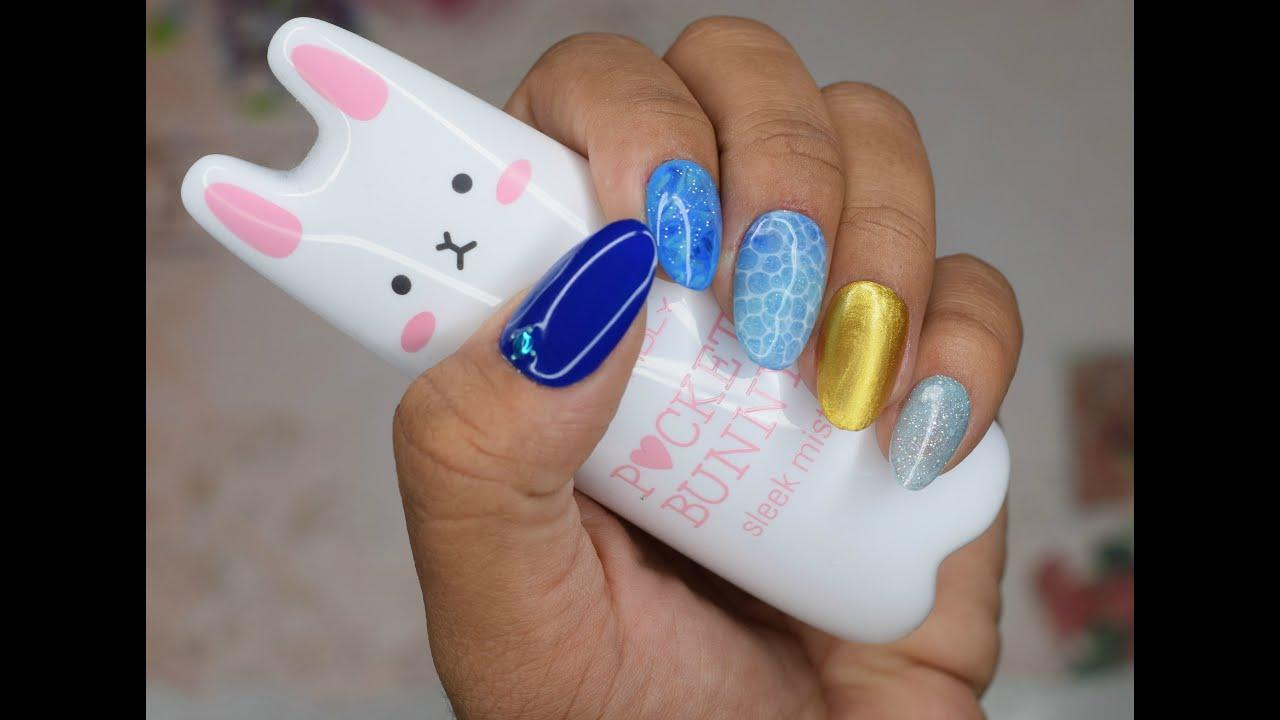 Easy Gel Nail Art Tutorial - Japanese Trend Aqua D - YouTube