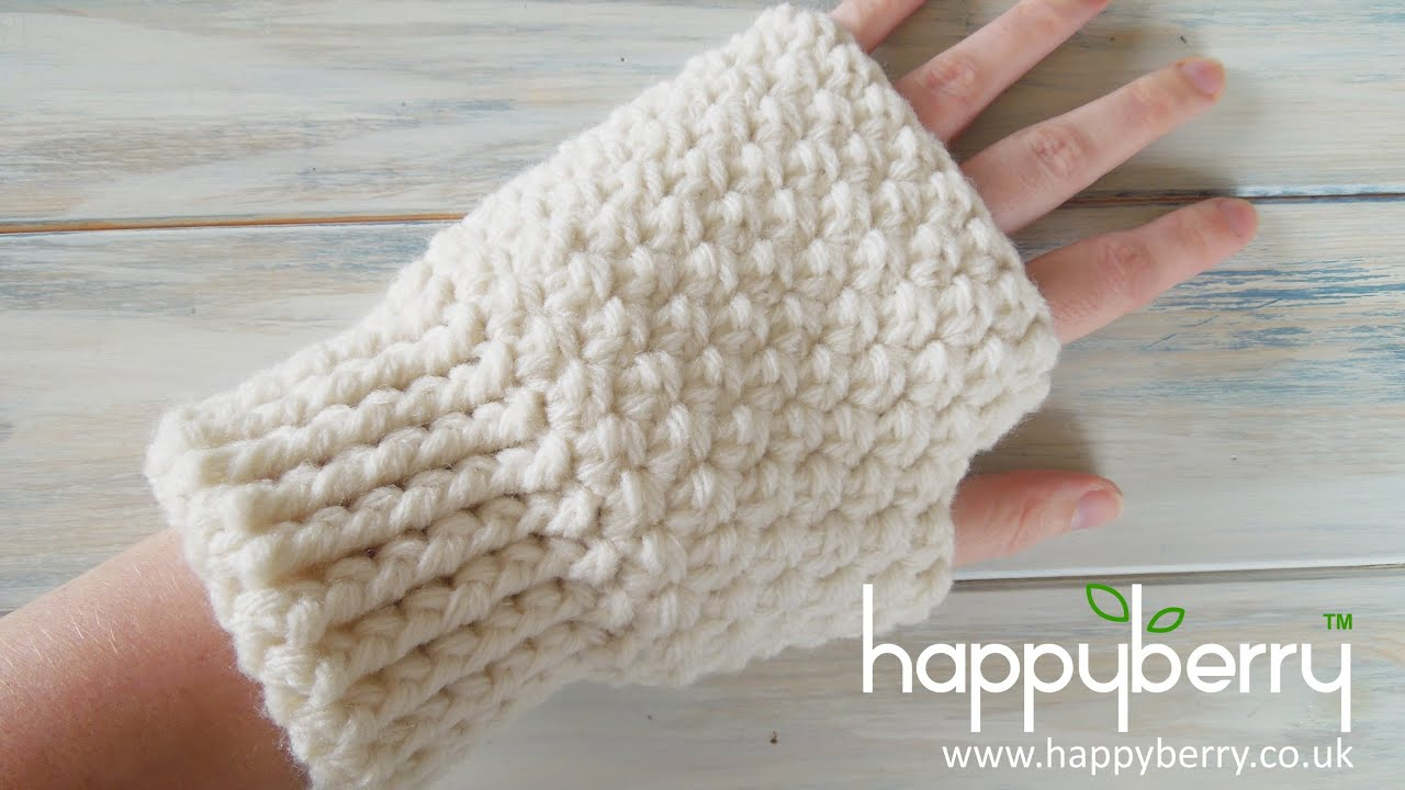 Free Crochet Pattern For Chunky Mittens : (Crochet) How To - Crochet Fingerless Mitten Gloves - YouTube