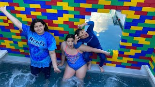 LAST to LEAVE the GIANT COLORED LEGO HOT TUB FORT WINS!!!