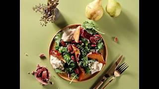 Салат с грушей на основе салатного микса Лазурный берег