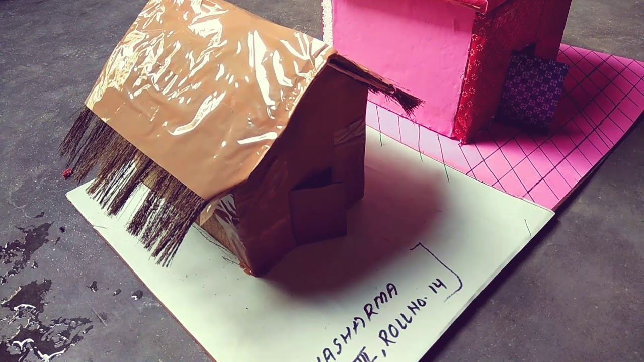 kutcha house and pacca house model - youtube