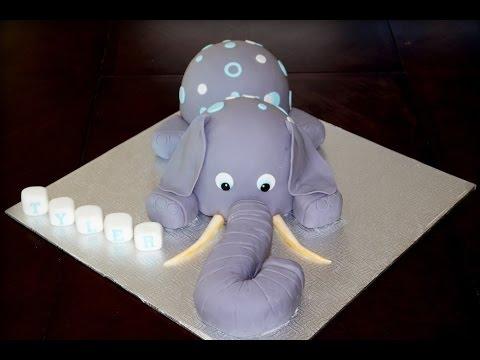 Cake decorating tutorial How to make a 3D elephant cake