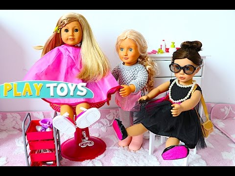 Thumbnail: Baby Doll Hair shop hair cut toys & AG Doll wardrobe dress up play toys