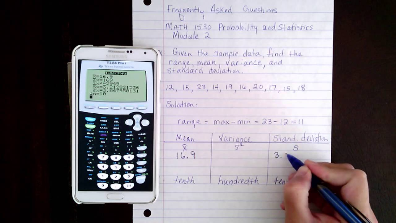 How To Find The Range, Mean, Variance, And Standard Deviation Given Sample  Data