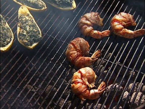 Smoked Squash Rockefeller and Horseradish Bacon-wrapped Grilled Shrimp (VIDEO)   HuffPost Life