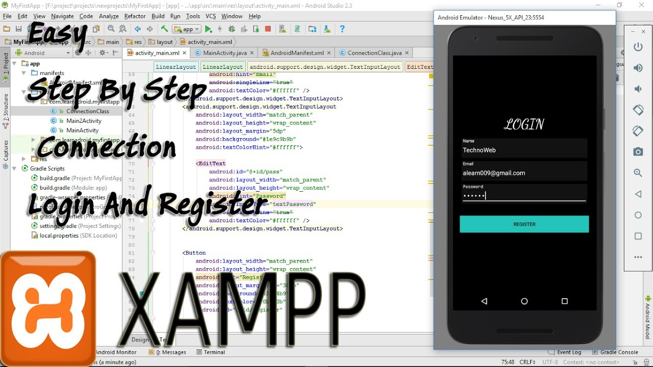 Android and database connection (Xampp) without php easy,step by step