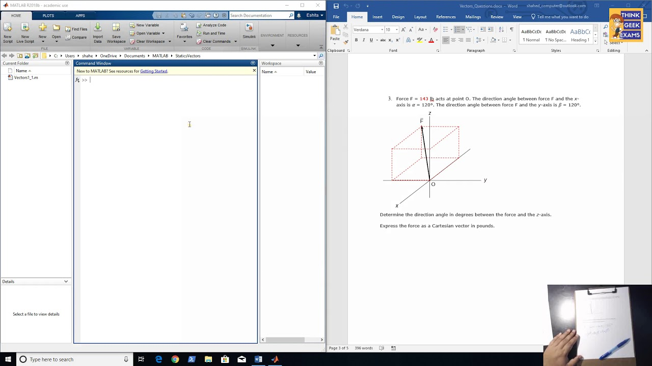 Statics HW 01 3: Angles of a 3D vector  Matlab