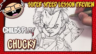 Lesson Preview: How to Draw CHUCKY THE DOLL (Child's Play Movie Franchise) | Super Speed Time Lapse