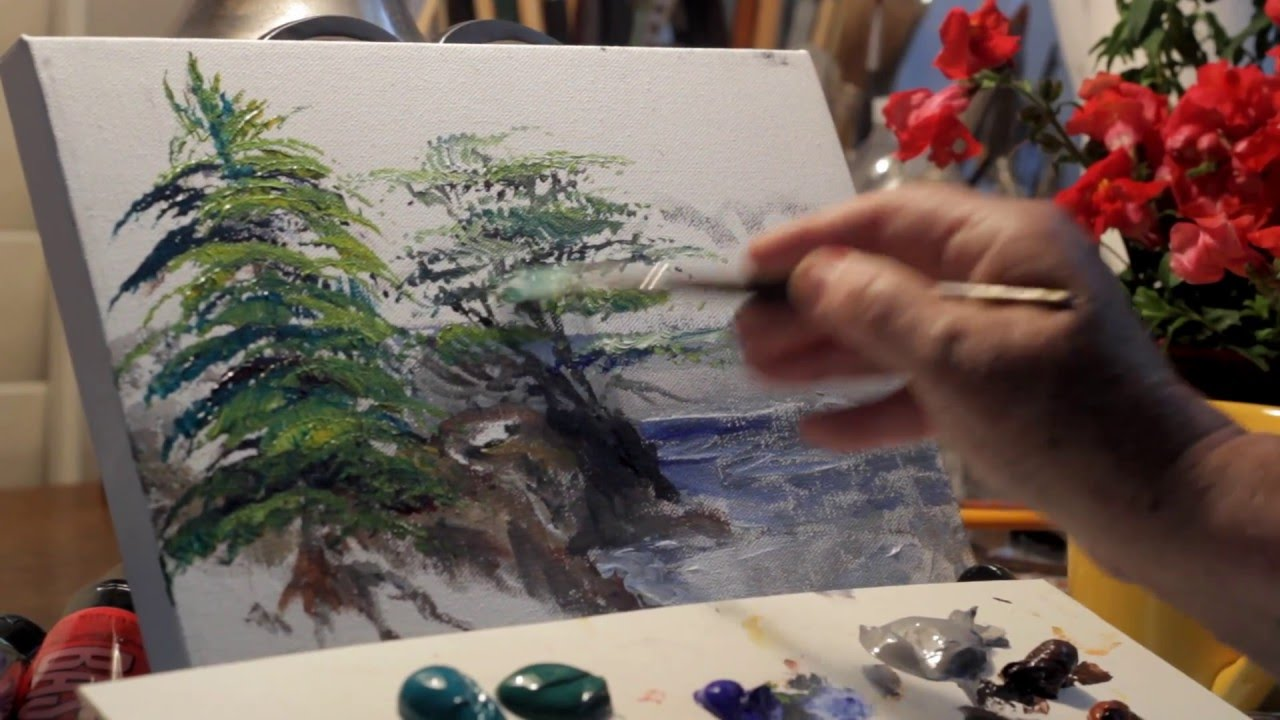 Paint trees four kinds pine cypress palm birch w marge for How to paint a tree