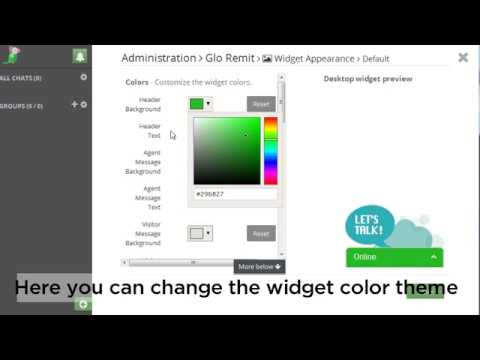 How to change tawk.to chat widget theme color
