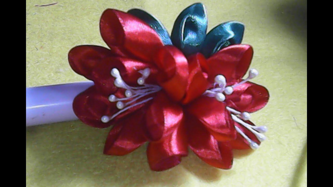DIY flowers,cara membuat kreasi bunga dari pita satin,how ... - photo#17