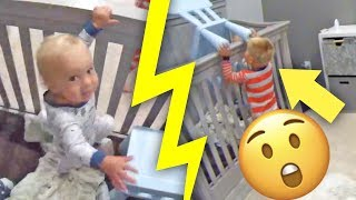 CAUGHT ON CAMERA! - Toddler helps baby escape from crib!
