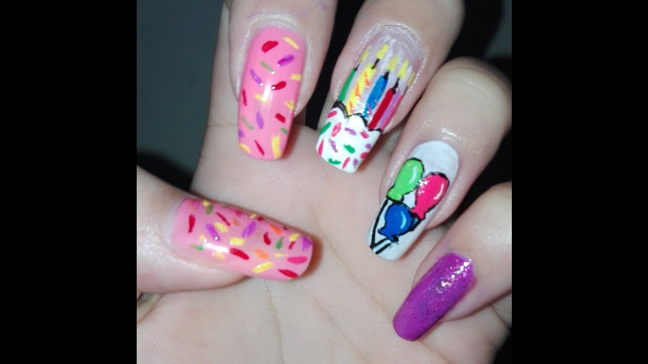 Birthday Nails Tutorial: Easy DIY Nail Art Design: Long Nails Art ...