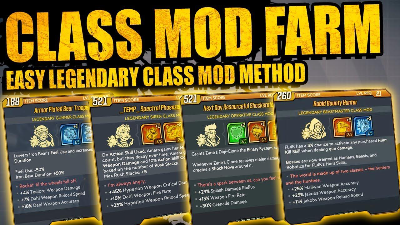 Borderlands 3 Best Online Legendary Class Mod Farms Best Way To Get Class Mods Full Guide Youtube