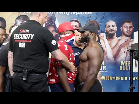 DERECK CHISORA TAUNTS CARLOS TAKAM WITH TWO MIDDLE FINGERS IN FACE-OFF / FULL WEIGH-IN