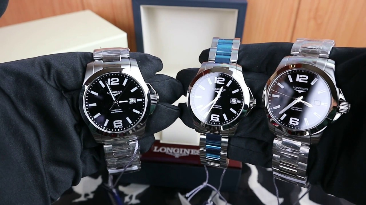 Longines Hydroconquest Automatic >> Longines Conquest 39, 41, 43mm Automatic Black Dial - YouTube