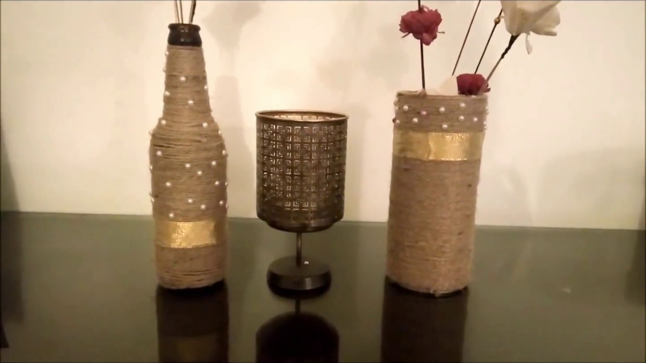 Diy Glass Bottle Decor Jute Wine Bottle Decor Best Out