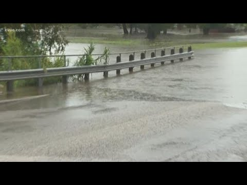 Flooding covers 2nd Street in Marble Falls