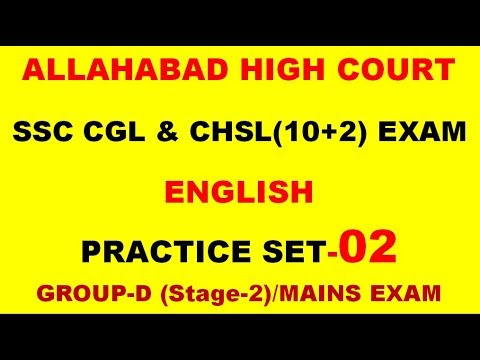 ENGLISH PRACTICE SET 02For SSC CGL & CHSL, Allahabad High Court, UPSI UPPCL (2017-18) Exam