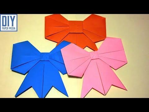 How to make a paper bow | DIY origami bow folding tutorials | Ribbon Paper Kawaii