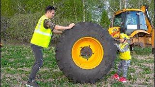 سينيا تقوم بإصلاح عجلة السقوط على جرار ضخم!