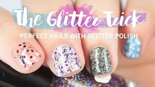 How To Evenly Apply Glitter Nail Polish | The Glitter Trick | The Nailasaurus
