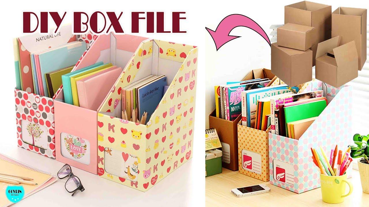 Cara Membuat Box File Dari Kardus Bekas Youtube