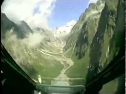 Mirage Jet flying through the Swiss Alps