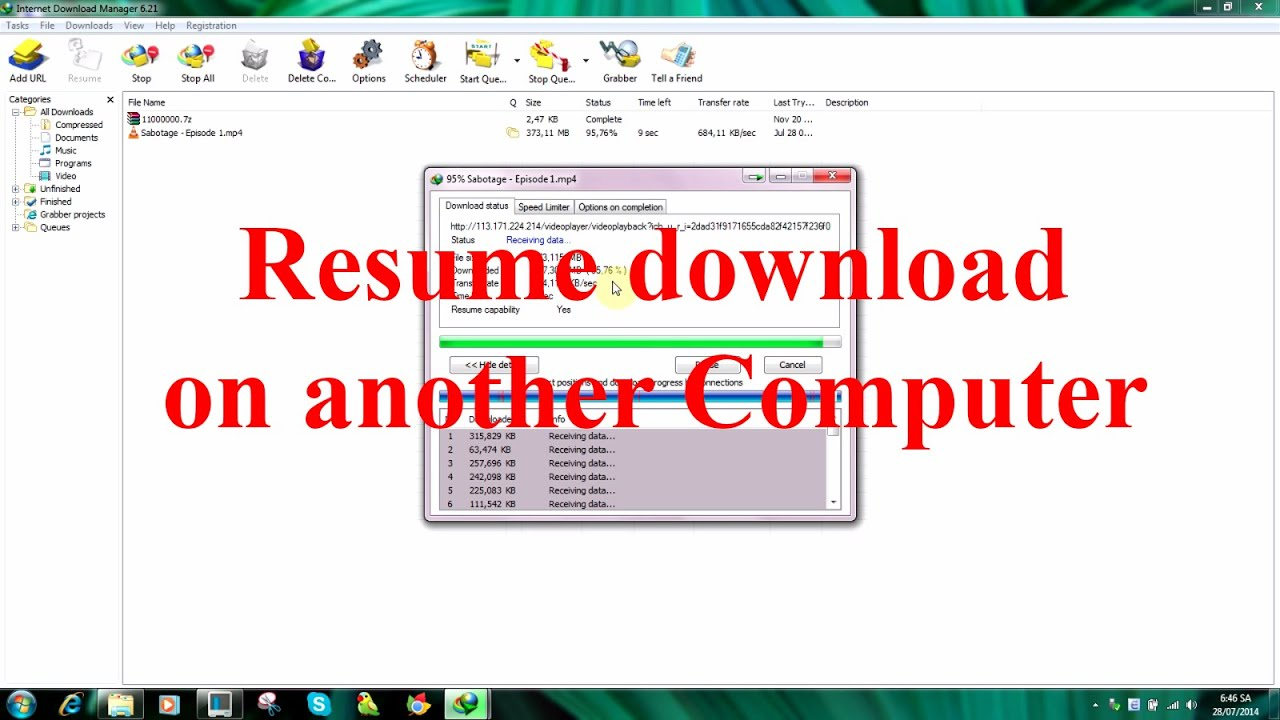 How To Resume Idm Downloads On Another Pc Idm 6 21 Youtube