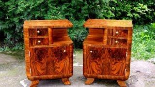 Art Deco Walnut Bedside Cabinets, Art Deco Nightstands.