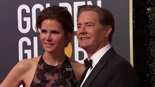 Desiree Gruber & Kyle MacLachlan Golden Globe Awards Fashion Arrivals (2018)