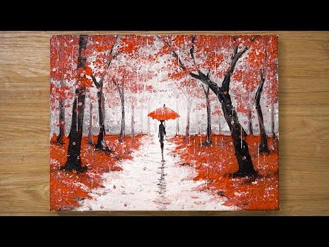 Marcher sous la pluie / Technique de peinture acrylique rouge # 448