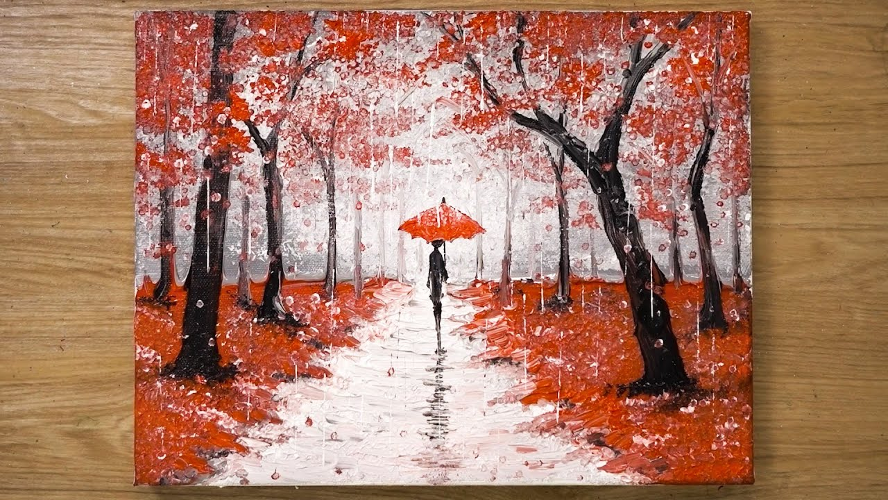 Walking in the Rain / Red Acrylic Painting Technique #448 - YouTube
