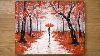 Walking in the Rain / Red Acrylic Painting Technique #448
