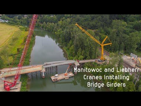 Liebherr and Manitowoc Construction Cranes At Work: Bridge Girder Install