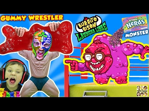 Thumbnail: GUMMY WRESTLER Fights GIANT GUMMY BEAR & Kid Eats It! Nerds Monster Battle (FGTEEV Launcha Libre)