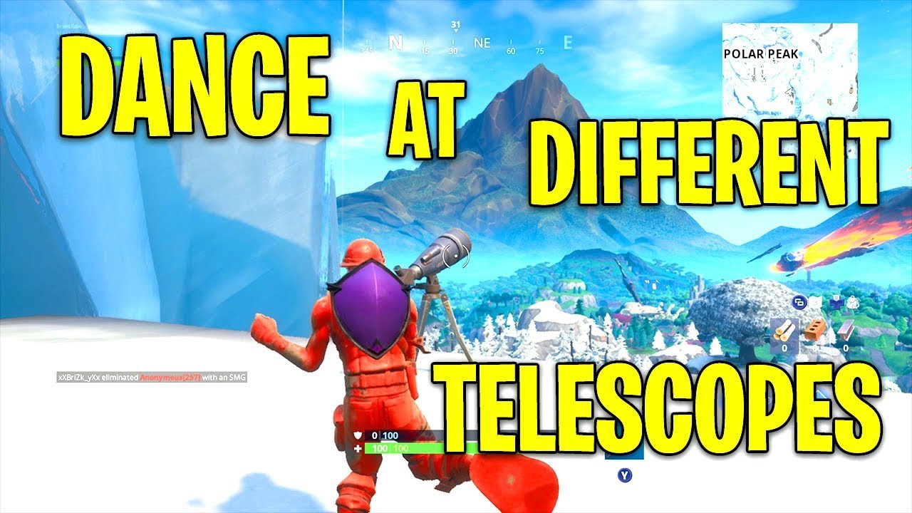 Fortnite Dance At Difference Telescopes Fortnite Dance At Different Telescopes All 3 Locations Guide Fortnite Storm Racers Challenge Youtube