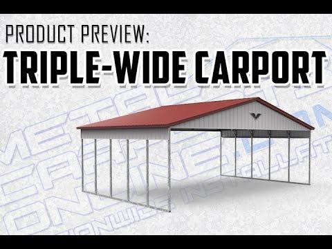 Triple Wide Metal Carport Preview-Metal Carports Online