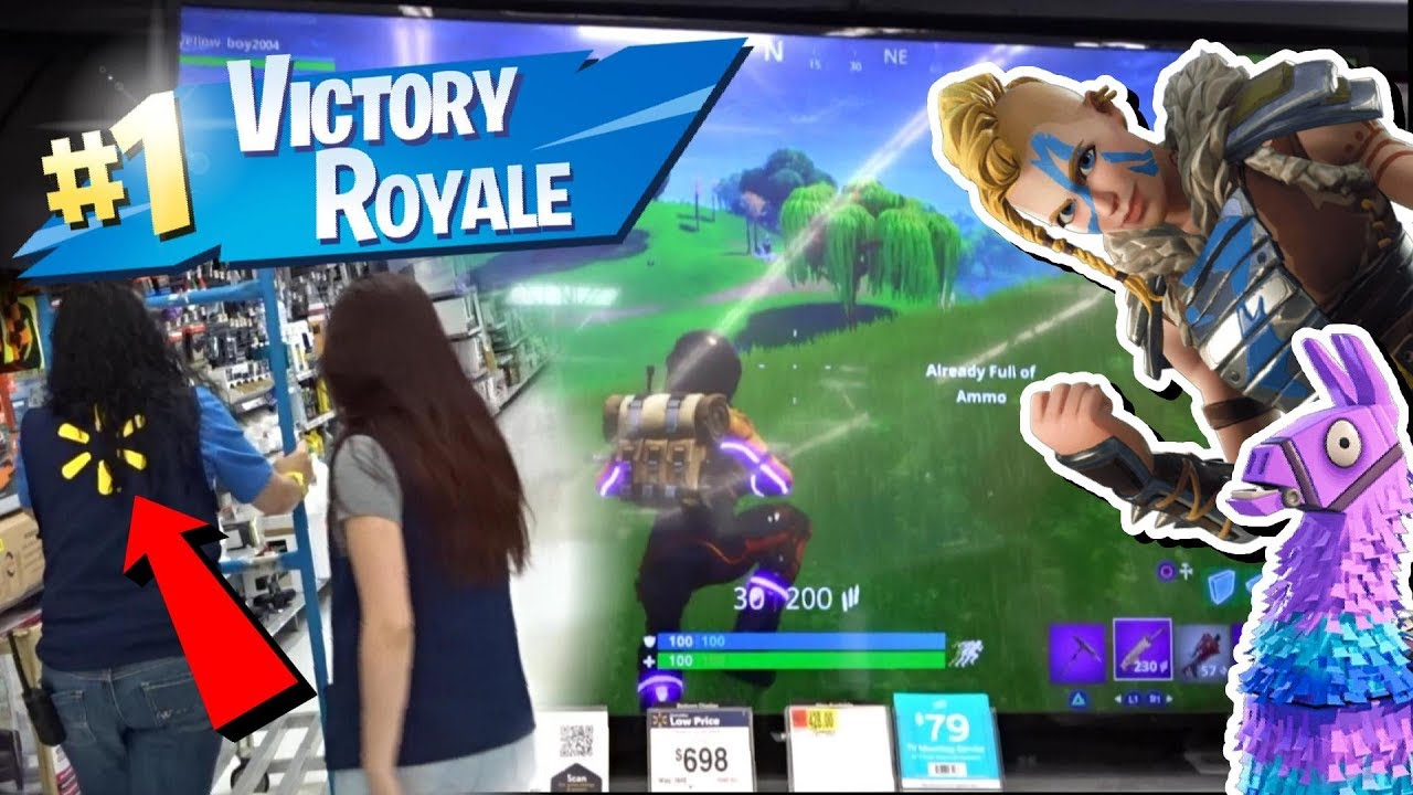 Playing Fortnite On A Walmart Display Tv 70 Inch T V Youtube