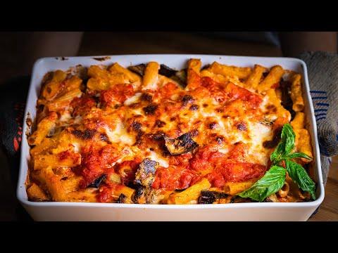 baked pasta with aubergines  eggplants