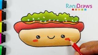 Cómo dibujar un HOT DOG kawaii - How to draw a cute HOT DOG (EASY) - PASO A PASO Fácil