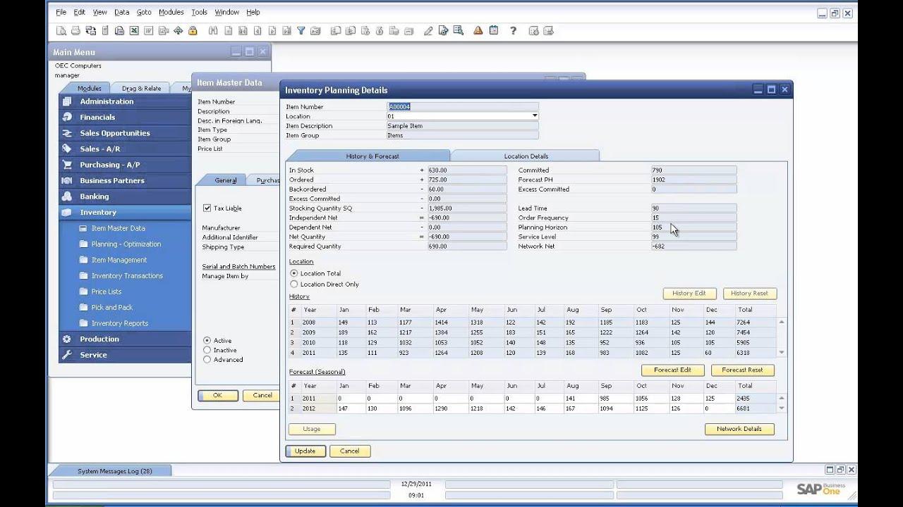 Valogix Forecast And Stocking Quantity Demo For SAP