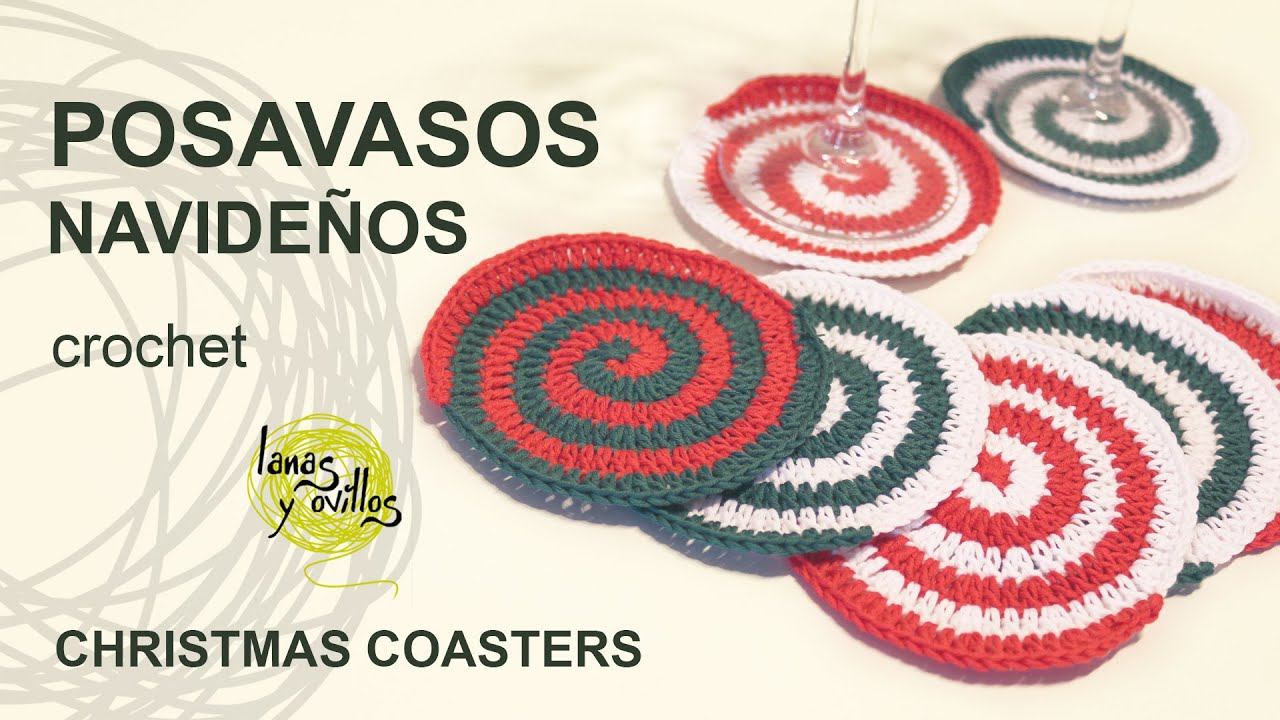 Tutorial Posavasos Espiral Navideños Christmas Coasters - YouTube