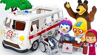 Masha and Bear ambulance play! Go to the hospital and treat the Wolves   PinkyPopTOY