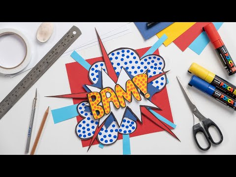 How to make a Pop Art Inspired Comic Book Onomatopoeia | Paper Collage | Zart Art
