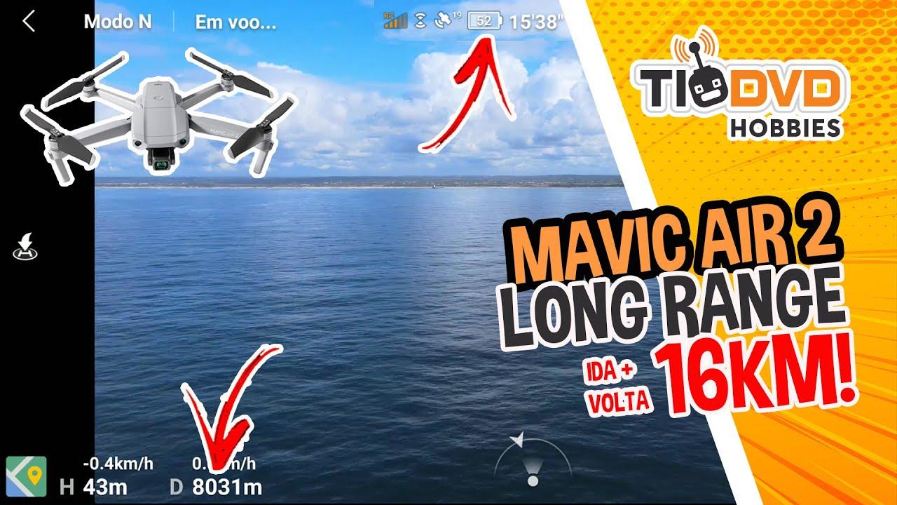 LONG RANGE TENSO! 8 KM C/ DRONE DJI MAVIC AIR 2 SOBRE O MAR TESTE LONGA DISTANCIA VOO DE 16 KM TOTAL
