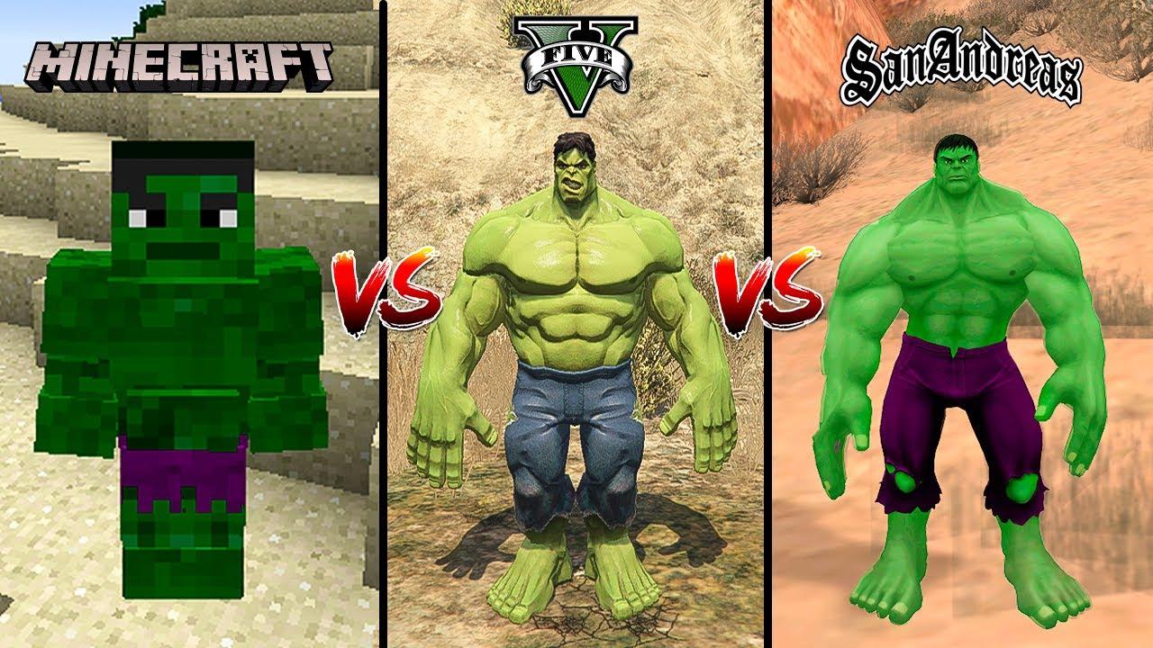 MINECRAFT HULK VS GTA 5 HULK VS GTA SAN ANDREAS HULK - WHO IS BEST?