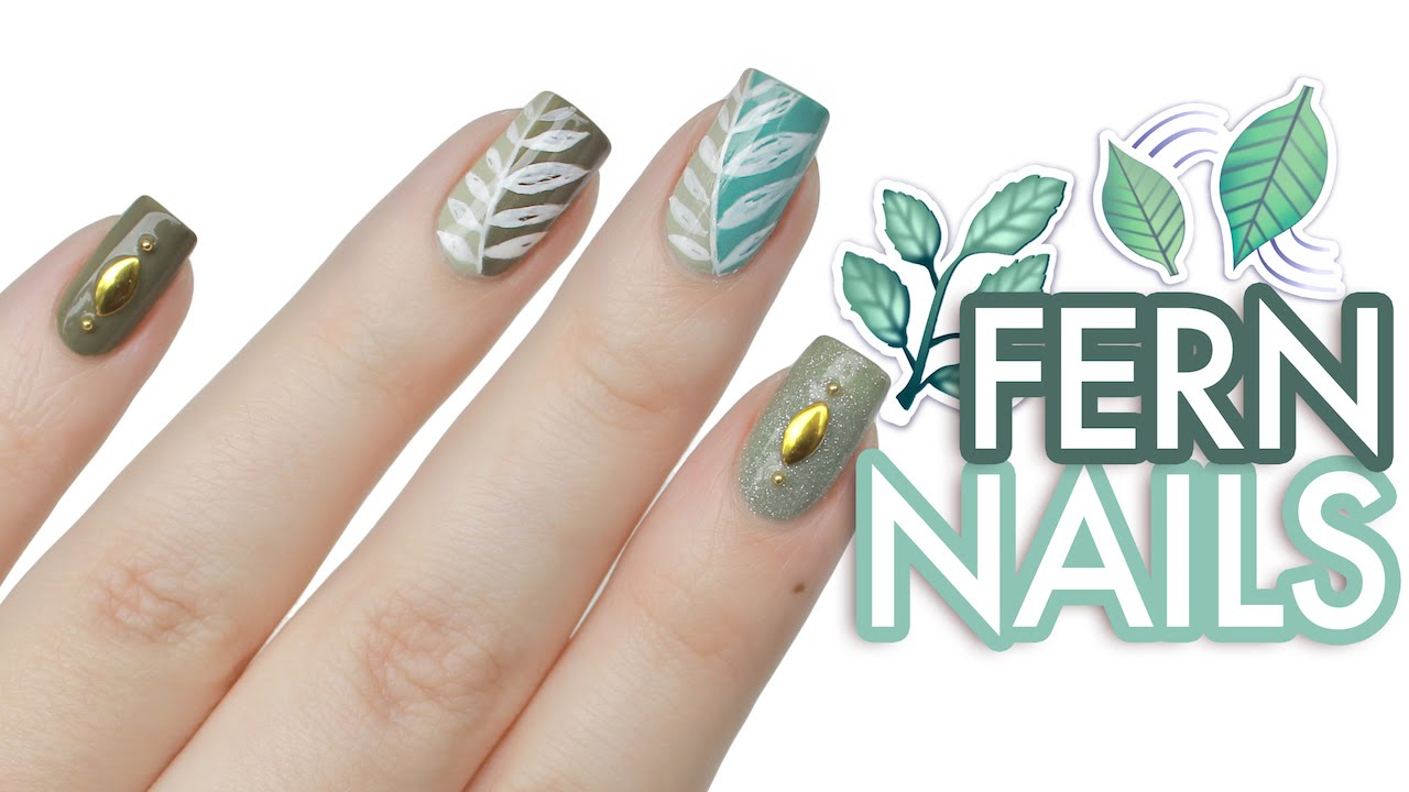 Earthy Fern Leaf Nail Art - YouTube