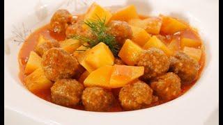 Турецкая кухня - картошка с тефтелями из говядины. Patatesli sulu köfte