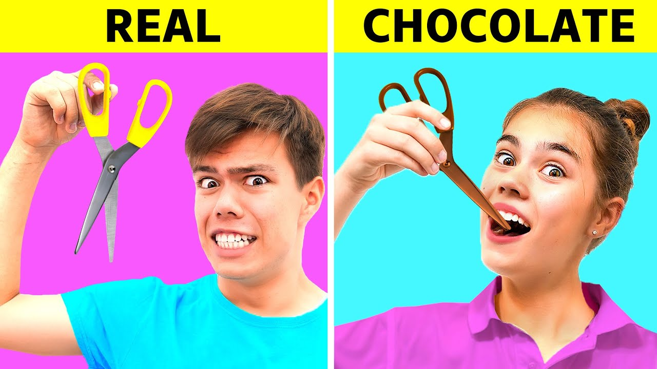 Desafío de comida real vs chocolate !